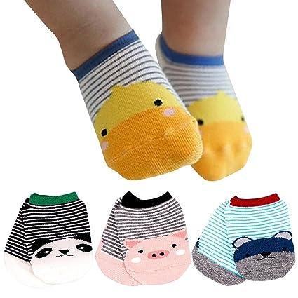 Happy Cherry - 4 pares Calcetines Antideslizantes para Bébés Recien Nacido Zapatillas Calcetines Corto para Verano