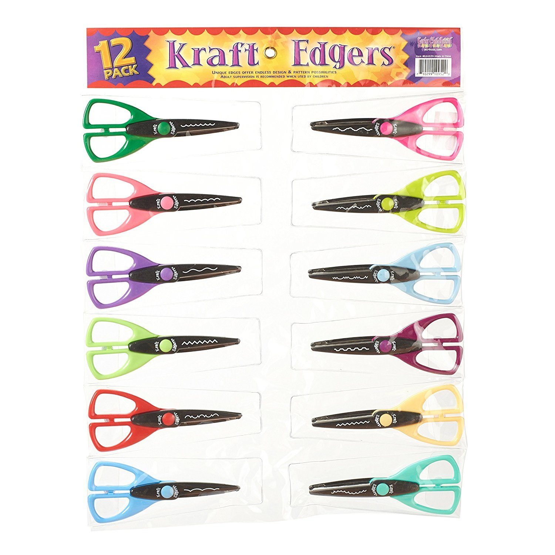 ECR4Kids Kraft Edger Decorative Craft Scissor Set - 12 Scissors with Carrying Pouch