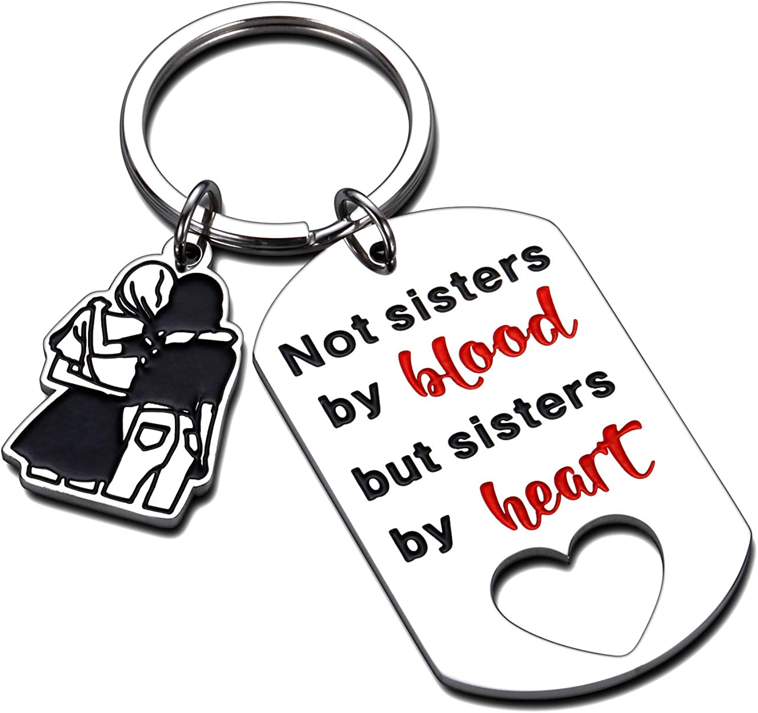 Friendship Gifts for Women Best Friends Keychain from Besties Sisters Girls Females Not Sisters by Blood But Sisters by Heart Key Ring Birthday Graduation Christmas Thanksgiving Present for Teens