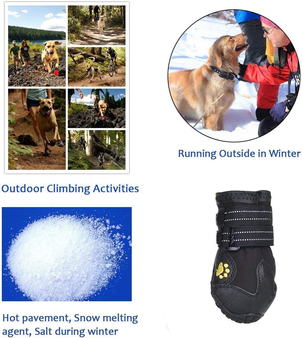 wasserdicht mit Anti-rutsch Sole passend f/ür mittlere und gro/ße Hunde PETAMANIM Hundeschuhe Pfotenschutz schwarz