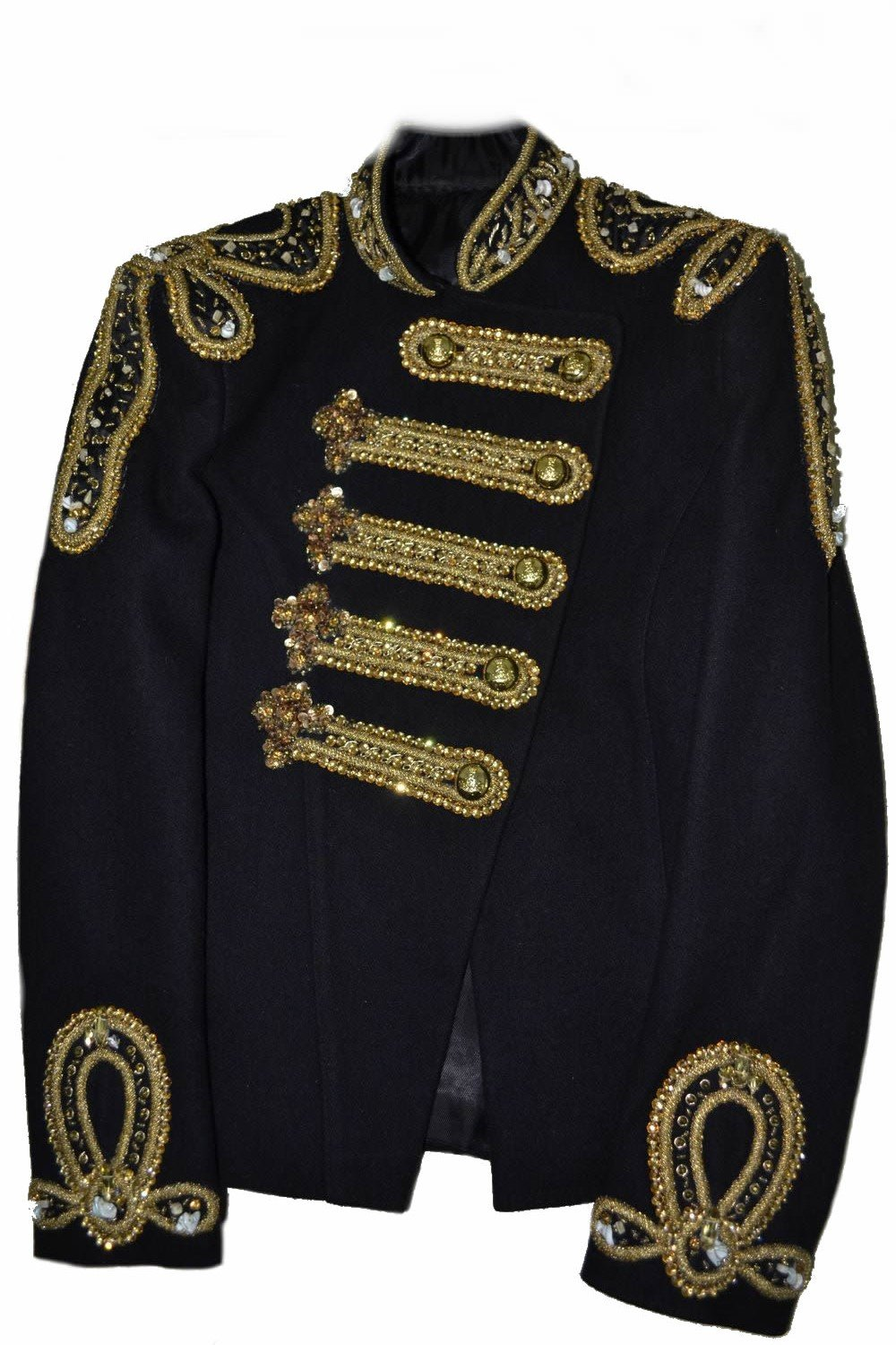 Classyak Women Balmain Military Style Wedding Jacket Suit - All Gold Beads (XL) by Classyak