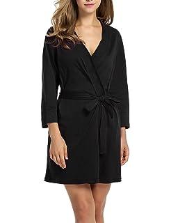 821aea2823 Hotouch Women Kimono Robes Cotton Lightweight Robe Short Knit Bathrobe Soft  Sleepwear Ladies Loungewear S-