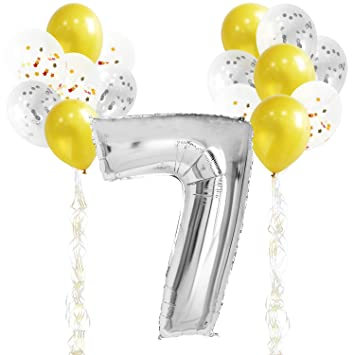 KUNGYO 7TH Birthday Party Decorations Kit Giant Silver Number 7 Foil Balloon Gold