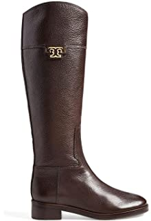Amazon.com | Tory Burch Marlene Women Round Toe Leather Brown Knee ...