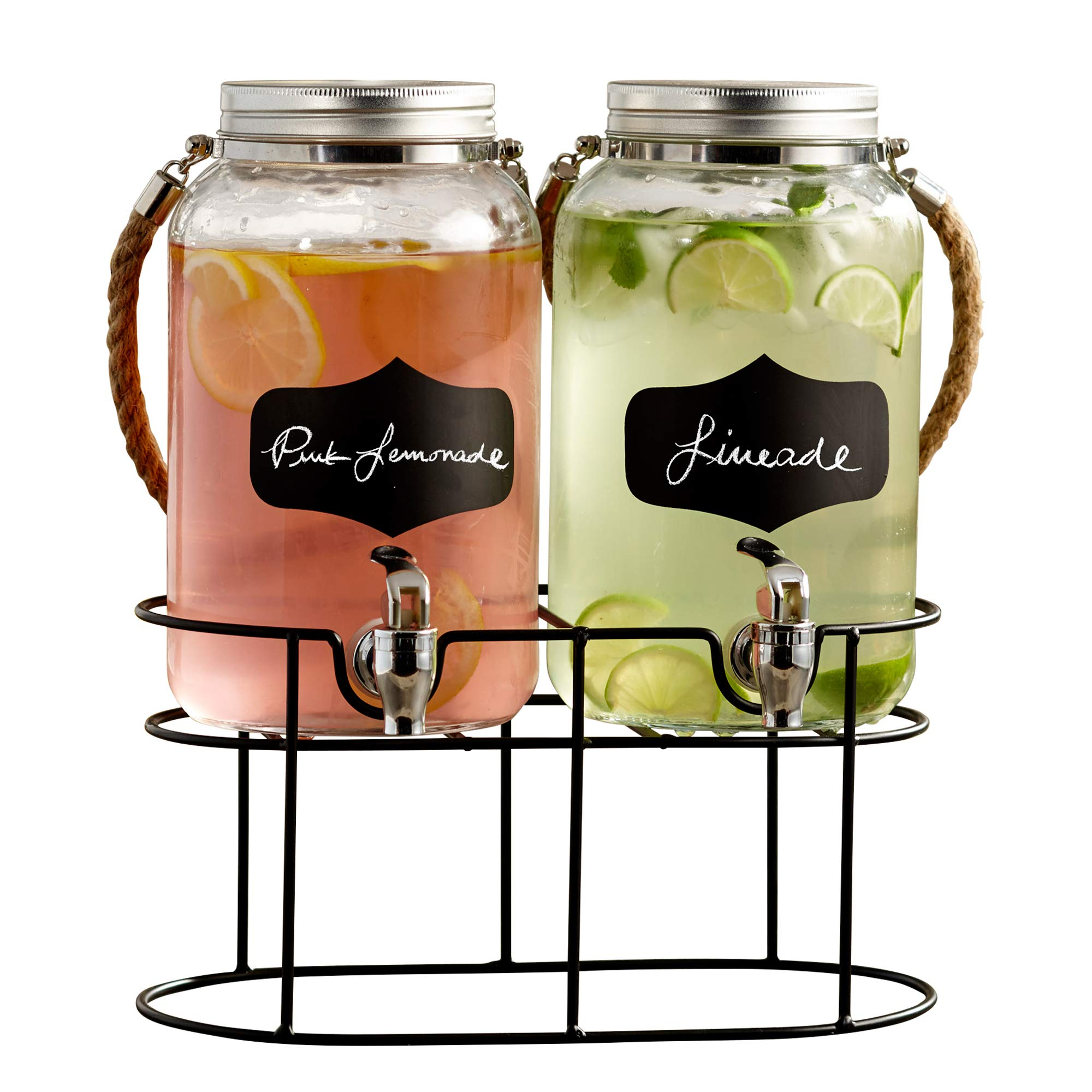 Style Setter Trent 210570-GB 3.8 Liters Each Glass Beverage Drink Dispenser Set with Metal Stand & Lid 14 x 7.5 x 13'' Clear