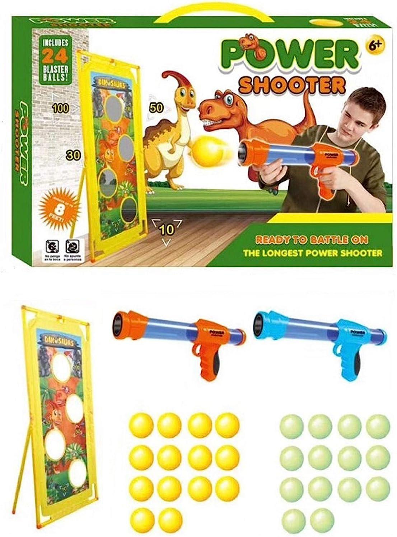 Coriver 2 Unidades Power Popper Gun y Dinosaurio de pie, Pistola de Bolas de Batalla con 28 Bolas de Espuma Suave y 1 Bolsa de Almacenamiento, Pistola de Juguete para Exteriores para niños y niñas