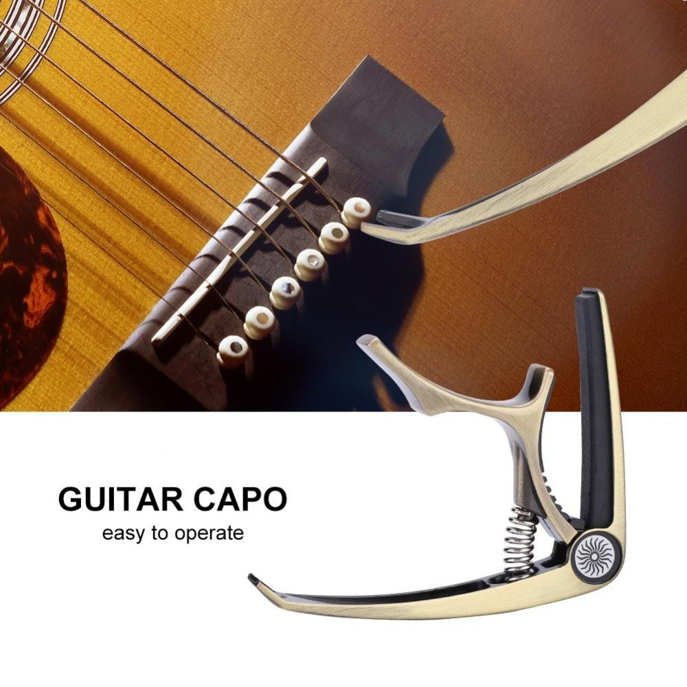 Matte Black Durable Portable Guitar Bass Capo Clamp Bridge Pin Puller Removing Tool Accessory Guitar Capo