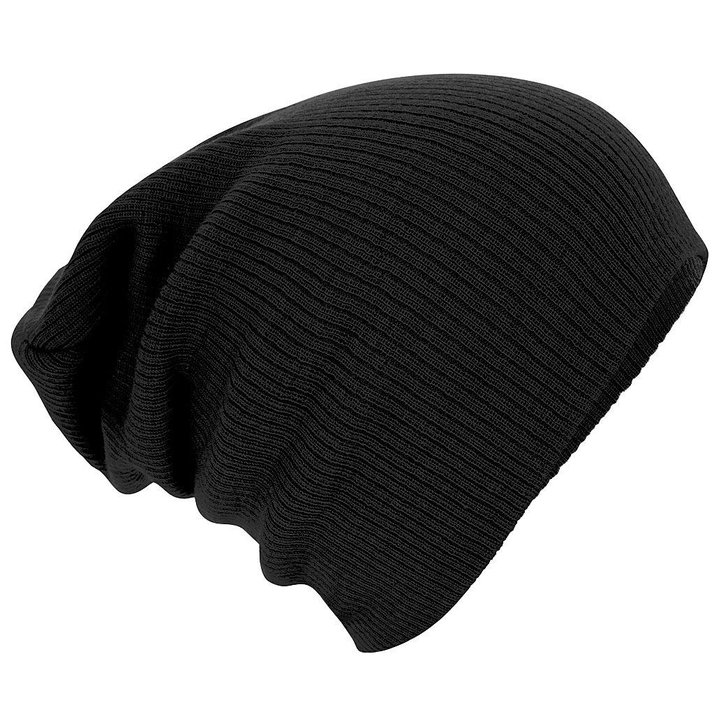 Beechfield Unisex Slouch Winter Beanie Hat (One Size) (Black) 100 Prozent Polyacryl