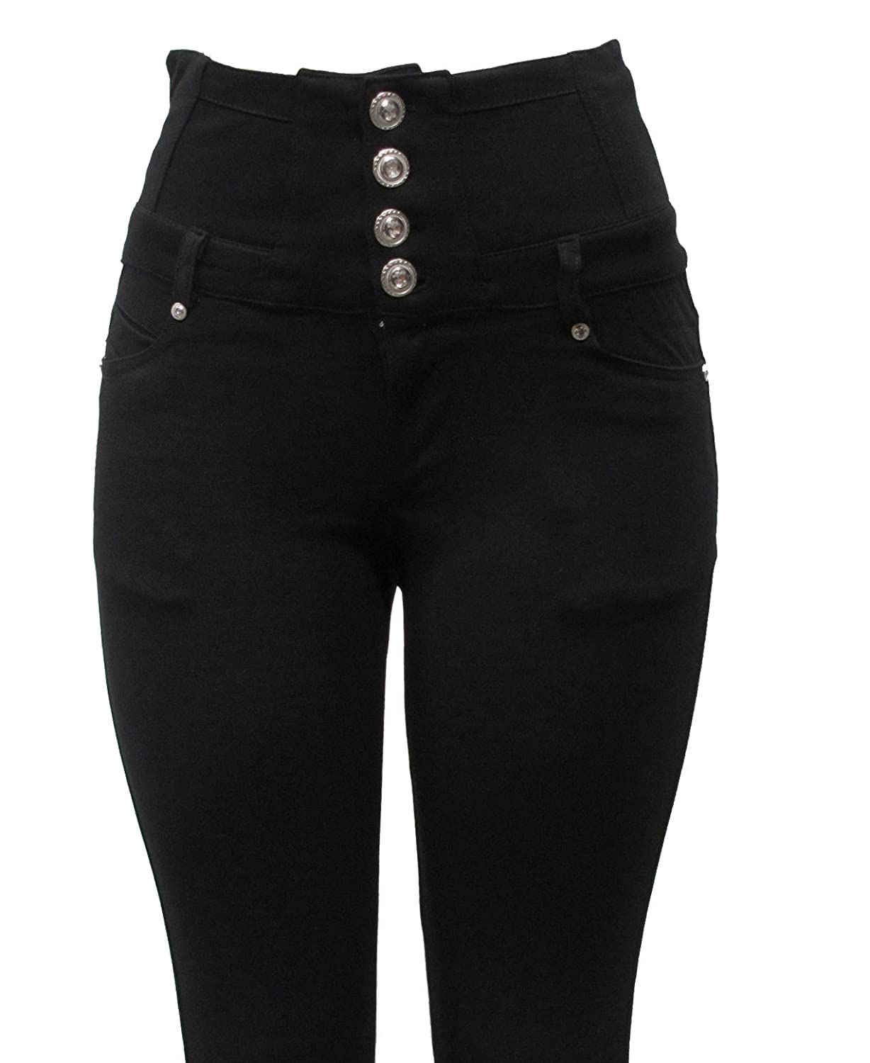 New Ladies Womens Black Fashion Stretch High Waist Four Button Skinny Jeggings Jeans Leggings UK Size 8-20
