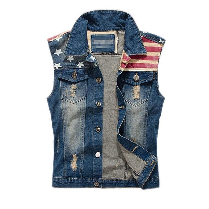 Jeans rajados Chaleco Hombres Bandera Americana Blue Jeans Chaleco sin Mangas Pantalones Vaqueros Chaqueta sin Mangas Hombres M - 3XL, PA071: Amazon.es: ...