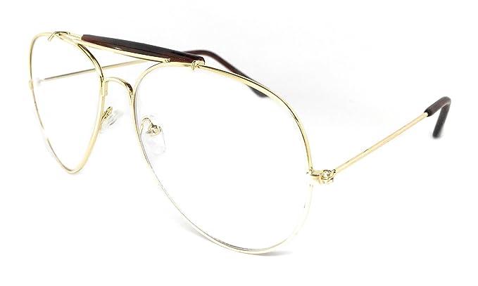 8ebd4aa223 WebDeals - Clear Lens Aviator Eyeglasses Classic Retro Metal Frame… (Gold  Frame