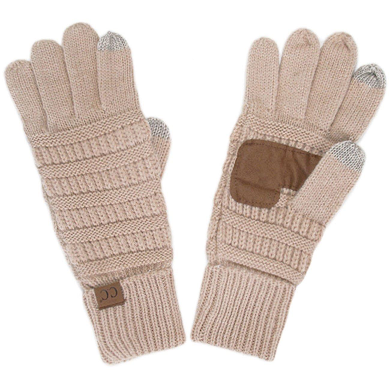 ScarvesMe CC Soft Knitted Solid Color Gloves (Beige)