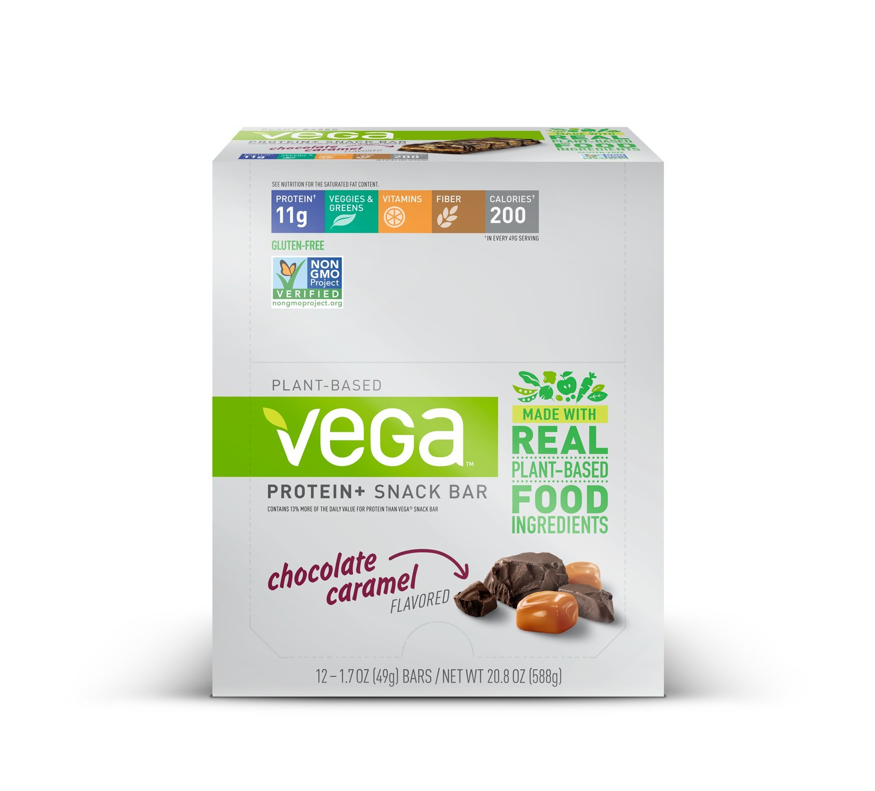 Vega Protein+ Snack Bars Gluten Free, Chocolate Caramel, 1.7oz, 12 Count