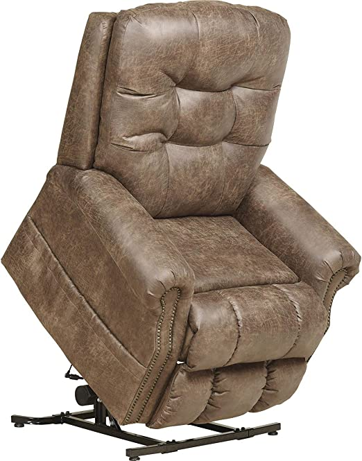 Catnapper Ramsey 4857 Power Full Lay Flat Lift Chair Recliner with Heat and Massage Easy Care Faux Leather Vinyl Silt