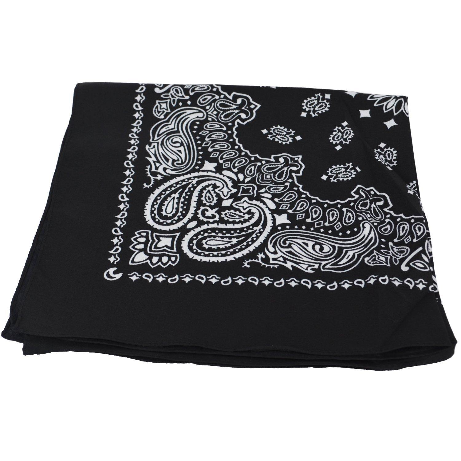 2X BLACK Bandana with WHITE square Paisley pattern ON BOTH SIDES