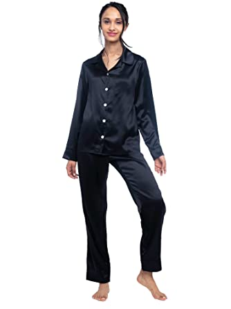 0d347ea3db MYK 100% Mulberry Silk Classic Two Piece Pajama Set Button Down Long Length  for Women