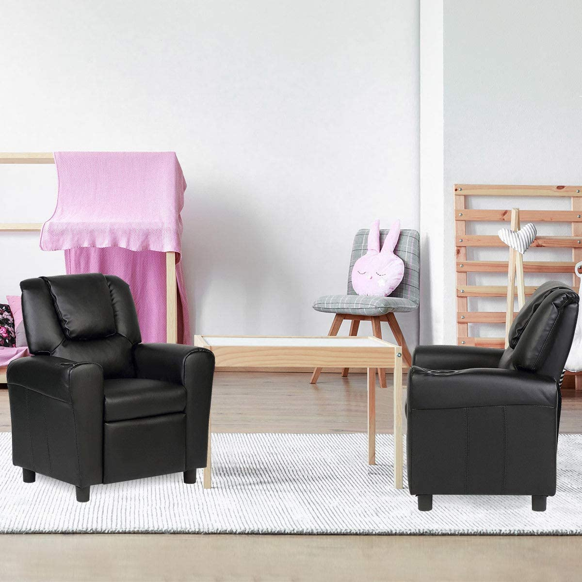 PU Leather Recliner Kids Couch Costzon Kids Recliner Chair with Cup Holder Toddler Furniture Children Armrest Sofa w//Headrest /& Footrest for Girls Boys Baby Bedroom Kids Room Black