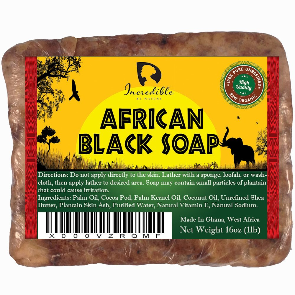 #1 Best Quality African Black Soap - Bulk 1lb Raw Organic Soap for Acne, Dry Skin, Rashes, Burns, Scar Removal, Face & Body Wash, Authentic Beauty Bar From Ghana West Africa - Incredible By Nature