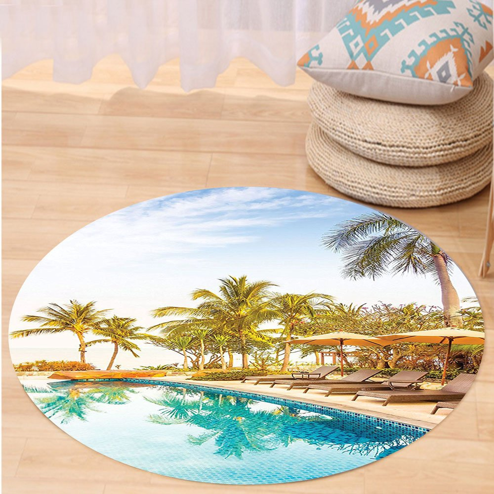 VROSELV Custom carpetHouse Decor Aerial View of A Pool in A Health Resort Spa Hotel with Exotic Elements Sports Modern Photo Bedroom Living Room Dorm Decor Multi Round 79 inches