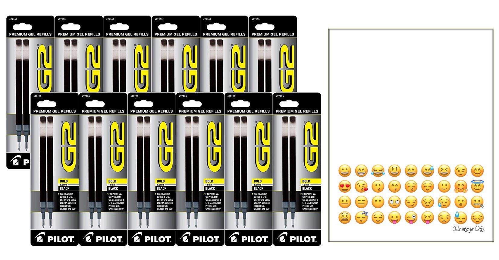 Black Pilot G2 Gel Ink Refill for Rolling Ball Pens, Bold Point 24 REFILLS 77291 by Pilot