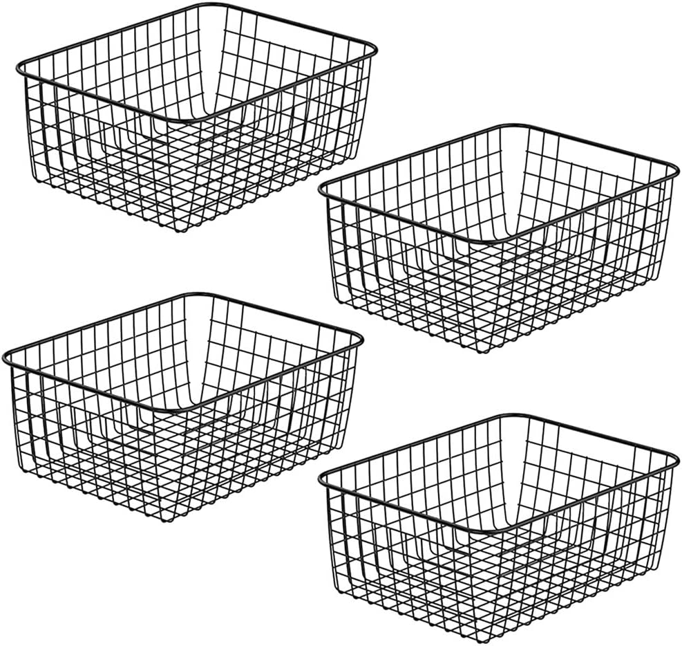 ZRAZ Kitchen Wire Baskets Farmhouse Decor Metal Food Storage Organizer,Household Refrigerator Bin with Built-in Handles for Cabinets, Pantry, Bathroom, Closets,Black