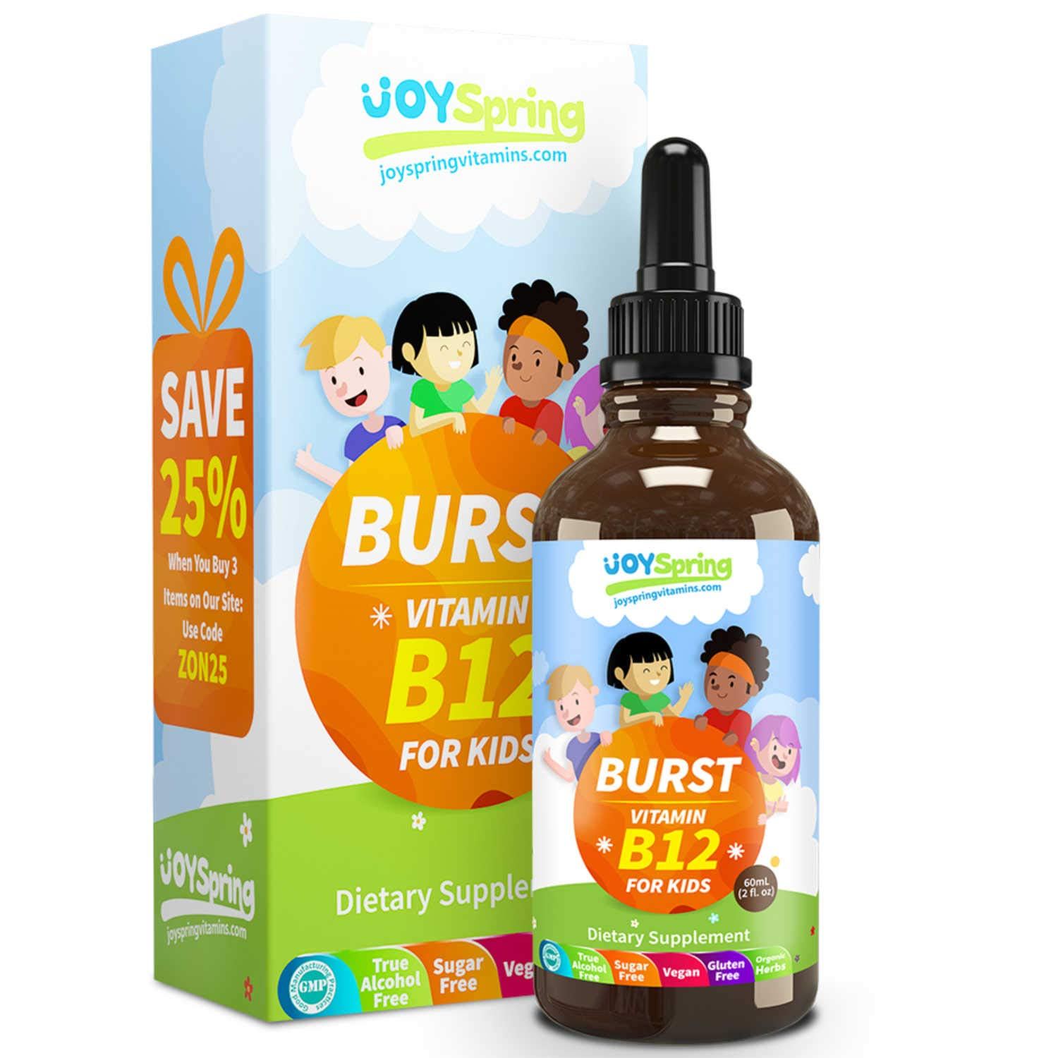 Burst B12 for Kids - Tasty Vitamin B Complex for Energy - Great Tasting Liquid Drops for Picky Eaters by JoySpring