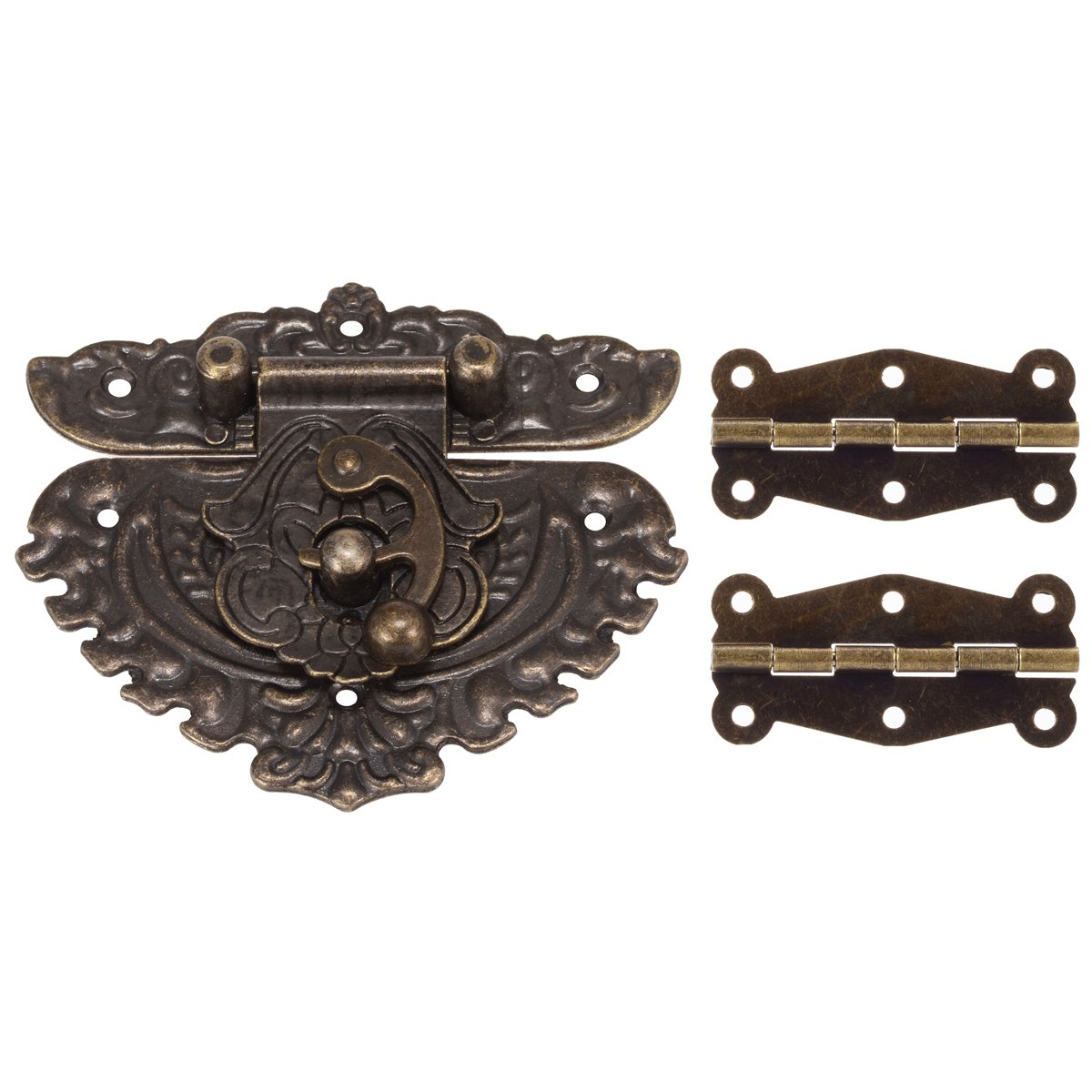 84MM Antique Bronze Embossing Latch Hasps with 50MM Brass Hinges and Screws for Wooden Jewelry Box Cabinet Decorative PAGOW
