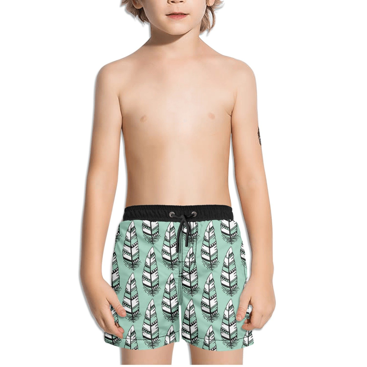 FullBo Nice Feathers Aztec Feather Little Boys Short Swim Trunks Quick Dry Beach Shorts