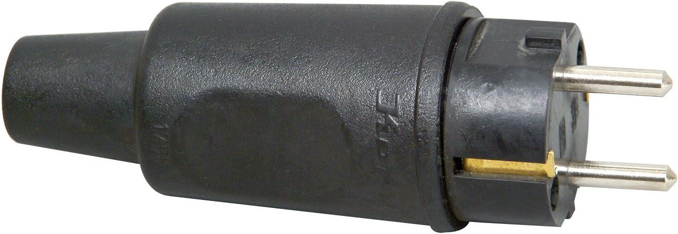 Schutzkontakt Stecker Kupplung Schuko Stecker Tulpenstecker 16A 250V schwarz 518