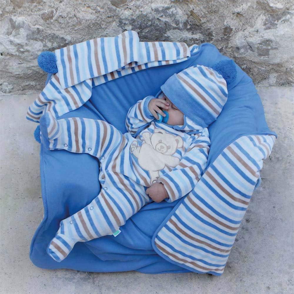 Tutina Neonato 0-3 Mesi Maschio ciniglia Invernale Orsetto Celeste Blu