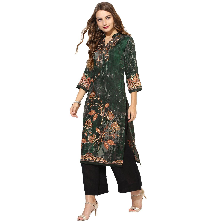 Lagi Kurtis Ethnic Women Kurta Kurti Tunic Digital Print Top Dress Casual Wear New Launch by Bottle Green