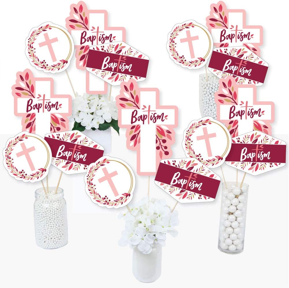 Girl Religious Party Centerpiece Sticks Set of 15 Baptism Pink Elegant Cross Table Toppers