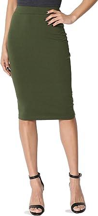 Women Stretch Skirt High Elastic Waist Below Knee Length Skirt Size M L XL XXL