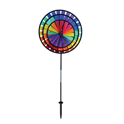 In the Breeze Best Selling Rainbow Triple Wheel Spinner- Ground Stake Included - Colorful Wind Spinner for your Yard and Garden : Wind Sculptures : Garden & Outdoor