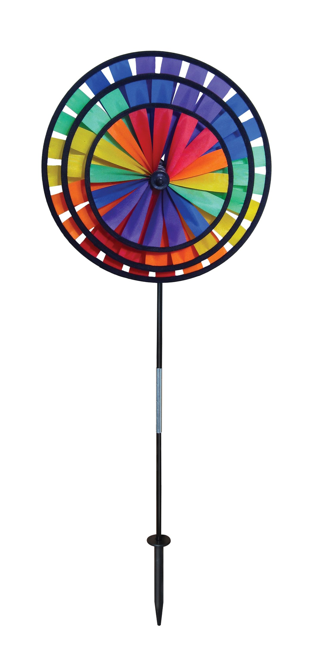 In the Breeze Rainbow Triple Wheel Spinner- Ground Stake Included - Colorful Wind Spinner for your Yard and Garden