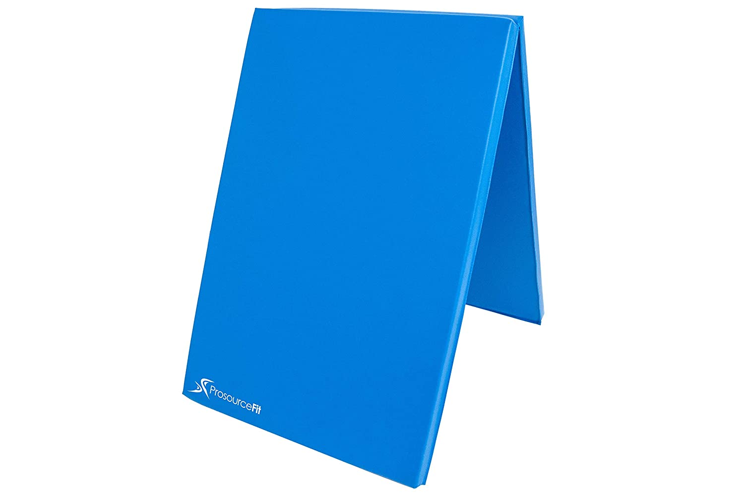 ProSource二つ折り折りたたみThick Exercise Mat 6 ' x2 ' with Carrying Handles for MMA、体操、ストレッチ、コアWorkouts B01EM736WA ブルー