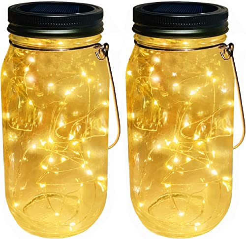 Solar Powered Glass Mason Jar Lights, 2-Pack 30 LEDs Warm White Fairy Led String Lights with Large Size Clear Mason Jar,Outdoor Solar Lanterns Jar and Hangers Included