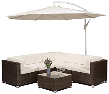 Savannah Rattan Garden Furniture Corner Sofa Set With (Glass Top Coffee  Table / Ottoman)