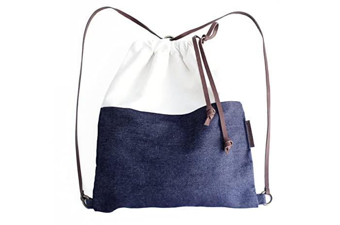 Simo BACKPACK, mochila tejido y cuero, de tela vaquera y cuero, azul y