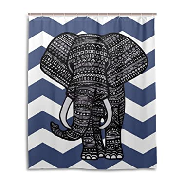 BAIHUISHOP Navy Blue Chevron Aztec Elephant Pattern Bathroom Shower Curtain 60 x 72 Inches With 12 Hooks Mildew Proof Polyester Fabric