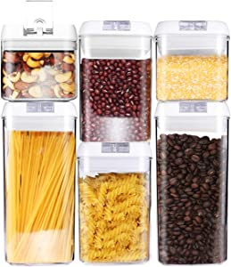 6 Piece Airtight Food Storage Containers - Kitchen Storage Set for Pantry Organization and Storage, Durable Plastic Storage Containers used for Cereal, Flour, or Sugar! Air Tight!