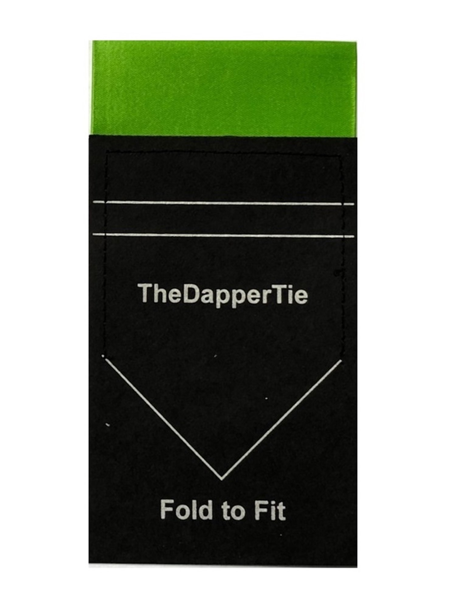 Men's Solid Flat Double Toned Pre Folded Pocket Square on Card - Apple Green