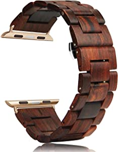 Wooden Watch Band,Compatible Apple Watch Band 42mm 44mm, YFWOOD Natural Handmade Wooden Replacement Sport Strap Bracelet with Stainless Steel Butterfly Buckle for iWatch Series 5 4 3 2 1