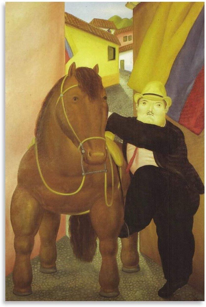 YGTD Fernando Botero - Póster decorativo para pared, diseño de hombre y caballo, 60 x 90 cm
