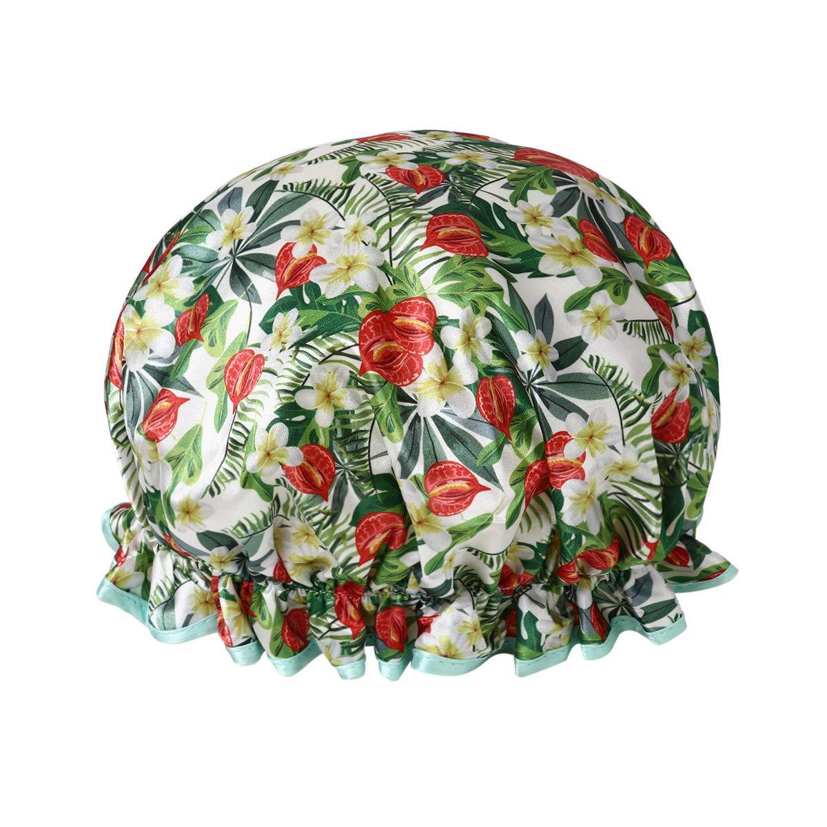 Hicollie étanche Bonnet de Douche Femme, Charlotte douche Réutilisable Couverture de Cheveux, Double Couche Bonnet de Douche avec fleurs Imprimés Chinois