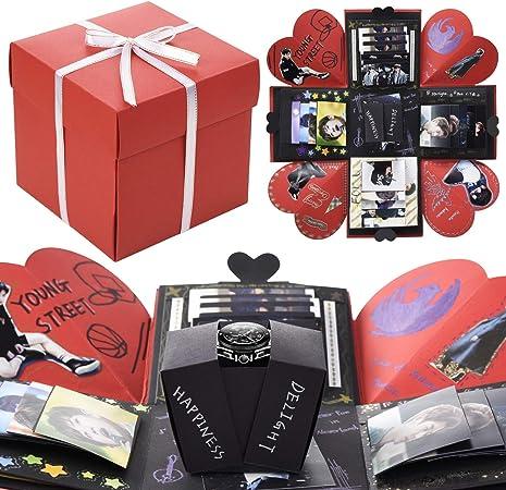 VEESUN Caja de Regalo Creative Explosion con Embalaje de PVC Caja de Foto Sorpresa DIY Álbum de Fotos Memories para Aniversario de Boda Cumpleaños Navidad para Mujer Niña Novios Novia Regalos, Rojo: