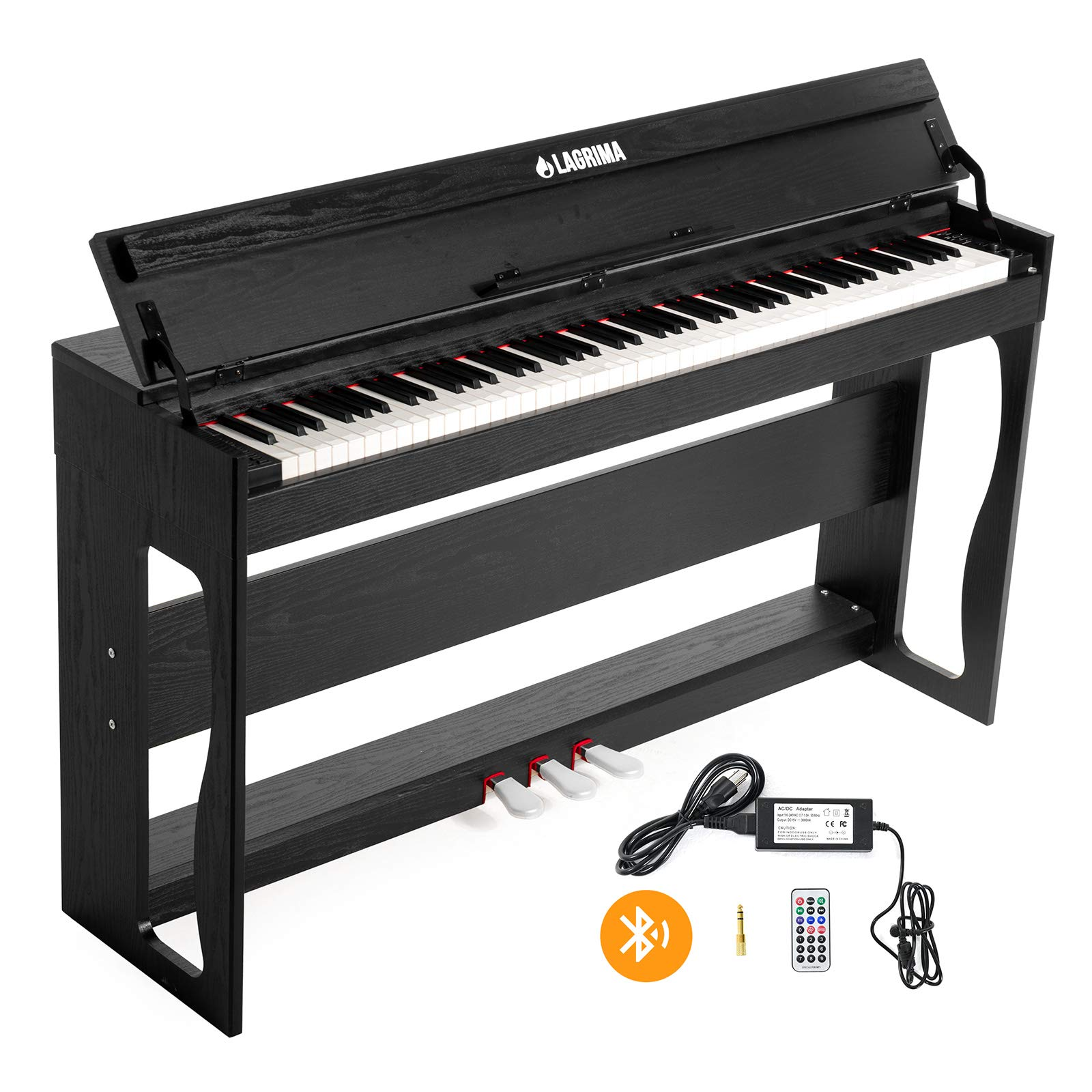 LAGRIMA 88 Key Weighted Digital Piano w/Bluetooth&MP3 Function, USB/MIDI/Headphone/Mic/Audio Output Feature, Suit for Kids, Teen, Adult, Beginner or Training Institution by LAGRIMA
