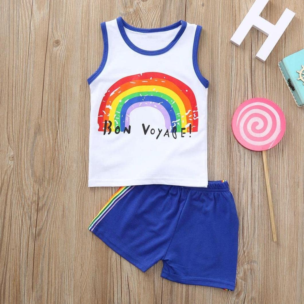 Jchen for 0-3 T Kids, TM Kids Pajamas Set Summer Baby Child Boys Girls Rainbow Print Sleeveless Vest Shorts Pants Outfit