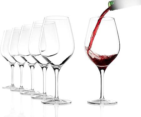 Copas para vino tinto Exquisit de Stölzle Lausitz, de 480 ml, juego de 6, aptas para lavavajillas: Copas para vino tinto universales para diversas variedades de vid, con acabado refinado