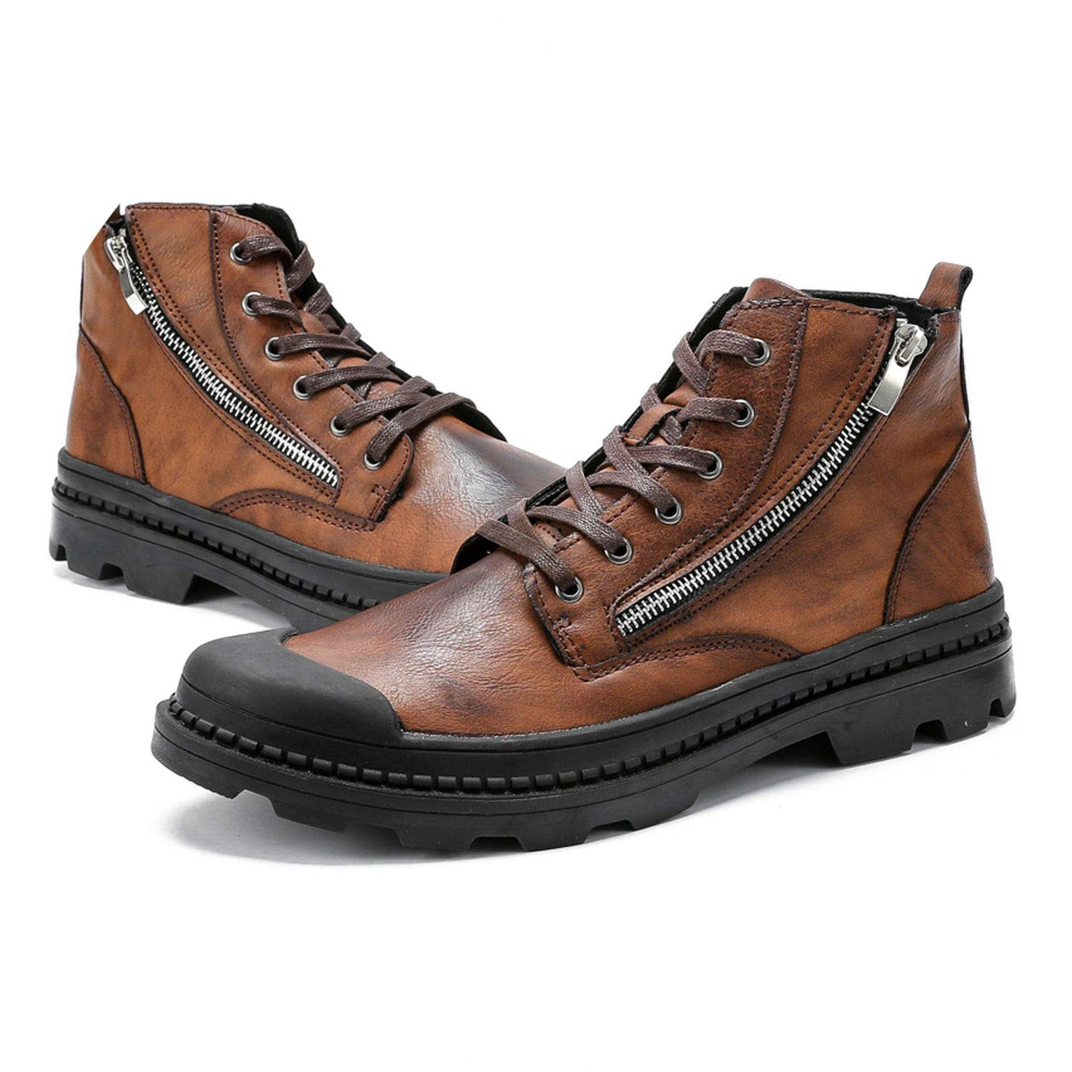 PU Leather Men Ankle Boots on Snow Boots Mens Boots Man Black Brown Lace Up Shoes